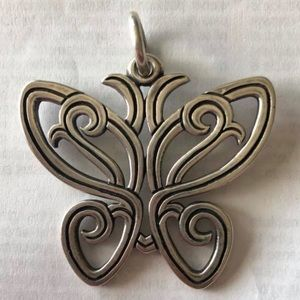 Rare Retired James Avery Lace Butterfly Pendent
